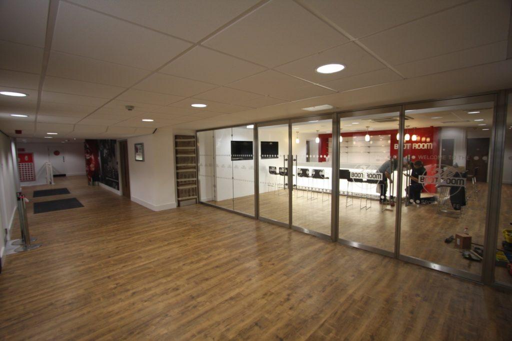 Liverpool FC Boot Room glass fire screens