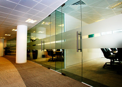 Bespoke Glass Office Partition installation