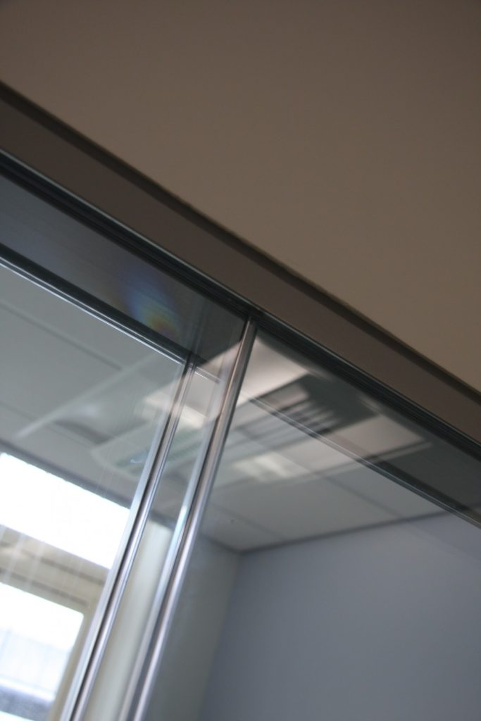 Printed glass office partition