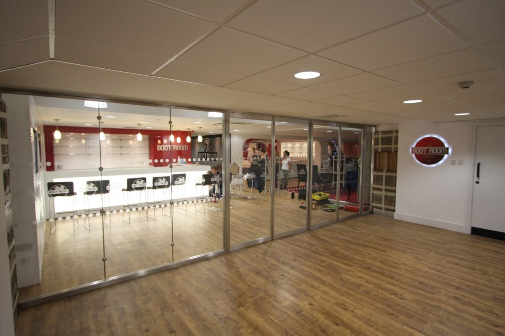 Liverpool FC Boot Room glass fire screens