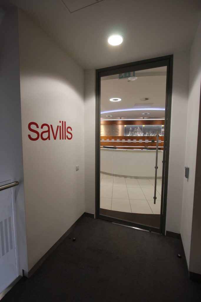 Savills fire rated glass door