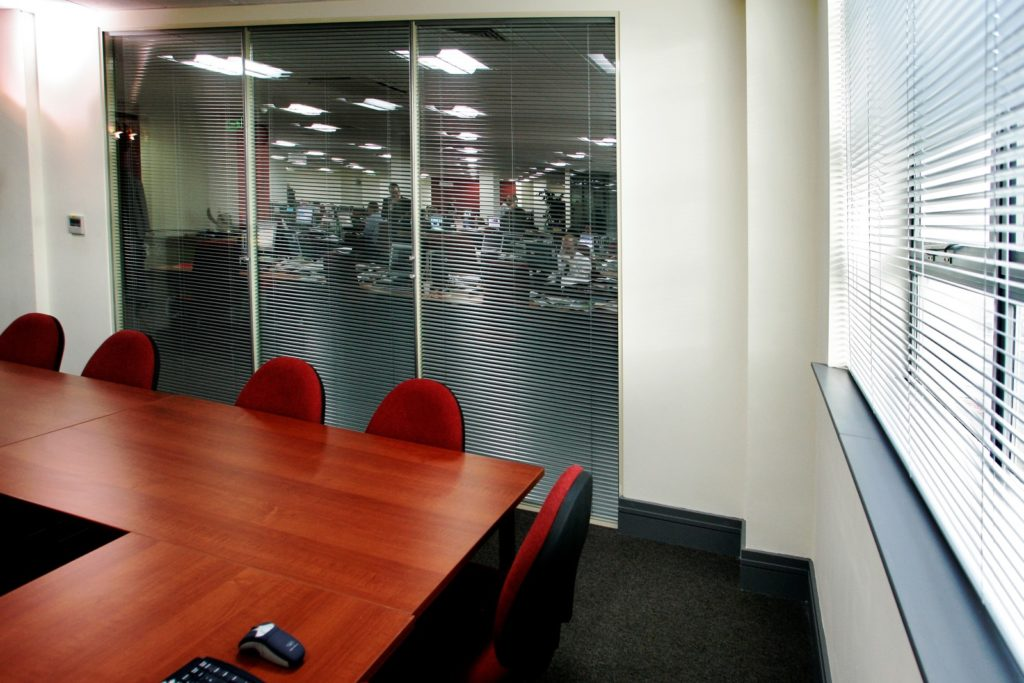 Glass office window blinds