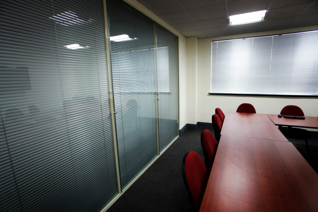 Glass office window blinds