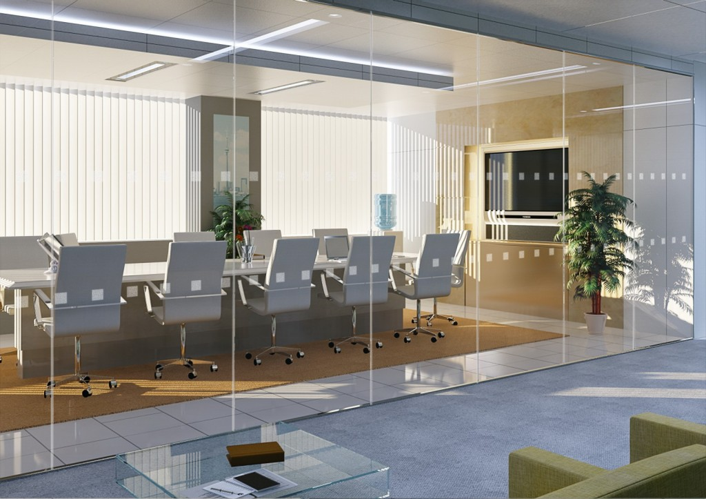 switchable glass in meeting room