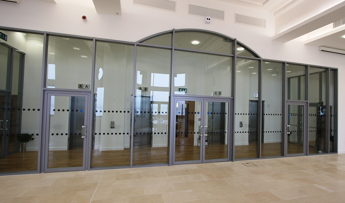 Aluminium office partitions with glazing